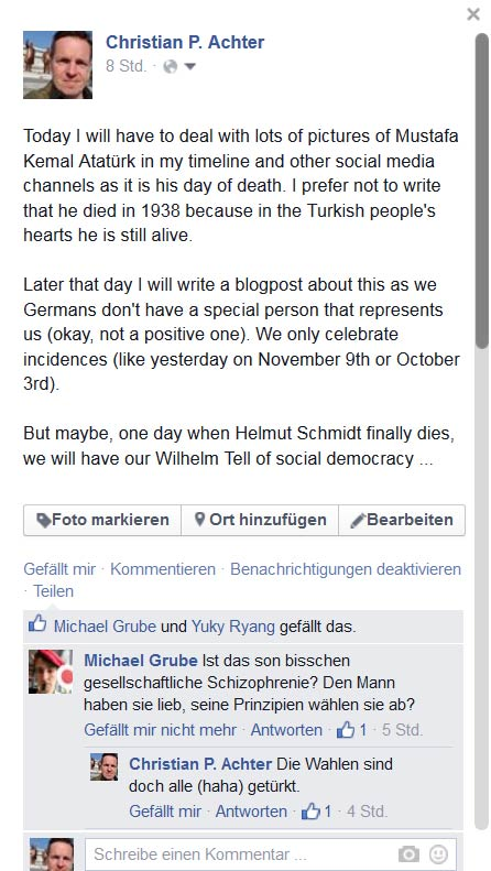 Das ist der Text des heutigen Facebook-Posts inkl. dem ersten Kommentar dazu.
